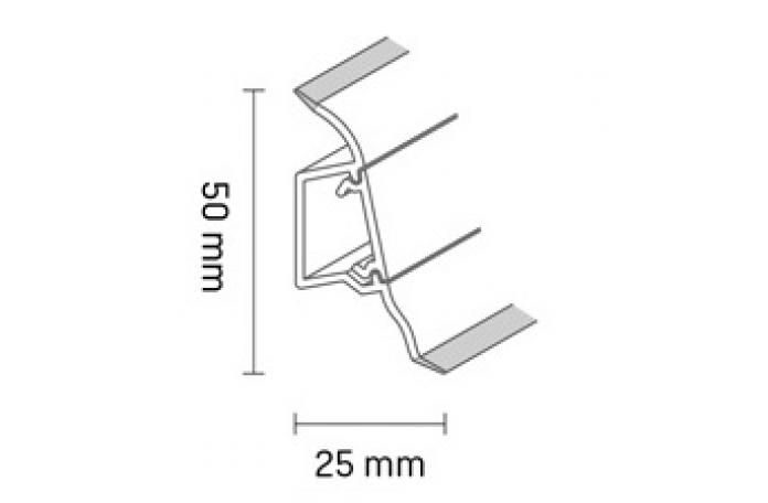 Перваз Дъб Антик Валентино с кабел канал W474 - размери