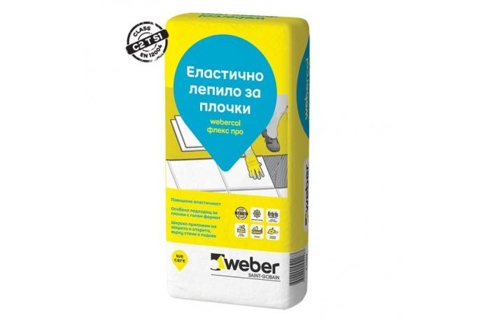 Webercol Флекс про бяло F611<br/>Еластично лепило за плочки C2 T S1, 25кг