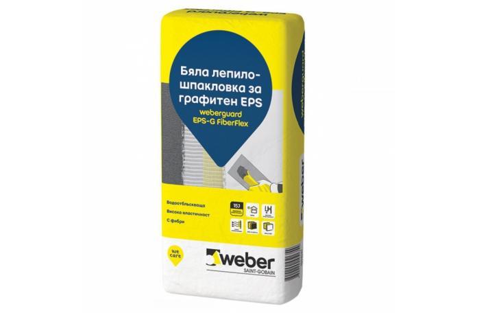 Weberguard 515P EPS-G FiberFlex Бяла Лепило-шпакловка за графитен EPS, 25 кг торба
