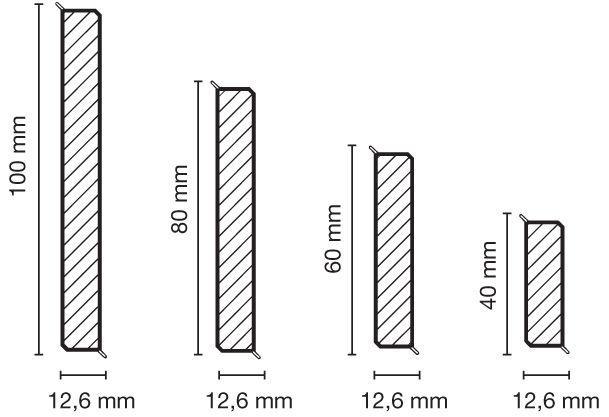 Перваз CUBU flex life 100 мм, сив - размери