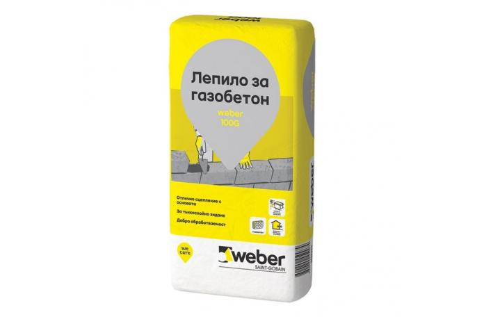Weber 100G<br/>Лепило за газобетон, 25кг